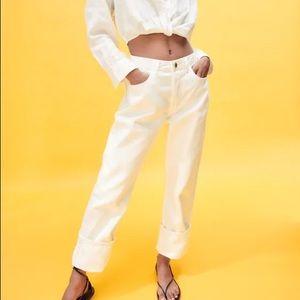 Zara 1975 high waisted white jeans